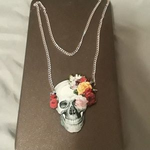 F21 Flower Skull Wood Necklace!!